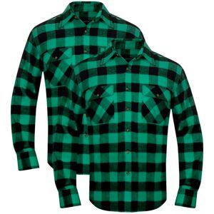 vidaXL Cămașă de lucru/flanelă bărbați, tartan verde-negru, L, 2 buc.