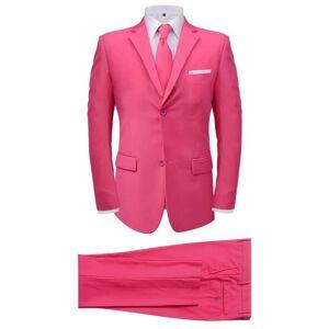 vidaXL Costum bărbătesc cu cravată, mărime 52, roz, 2 piese