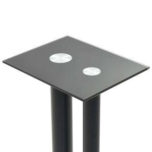 vidaXL Standuri boxe 2 buc, sticlă securizată, design 2 coloane, negru