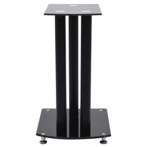 vidaXL Standuri difuzoare din aluminiu 2 buc. negru, sticlă securizată