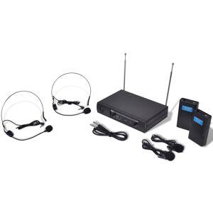 vidaXL Receptor cu 2 căști wireless VHF