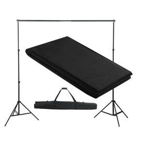 vidaXL Sistem de suport fundal, 300 x 300 cm, negru
