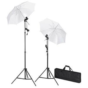 vidaXL Kit studio foto, fundal negru, 600 x 300 & lumini