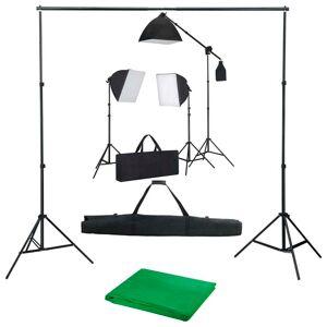 vidaXL Kit studio foto cu lumini softbox și fundal