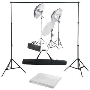vidaXL Kit studio foto cu set de lumini și fundal
