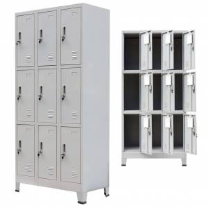 vidaXL Dulap vestiar cu 9 compartimente, oțel, 90 x 45 x 180 cm, gri