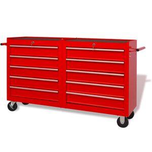 vidaXL Cărucior trusă de scule din oțel, 10 sertare, mărime XXL, roșu