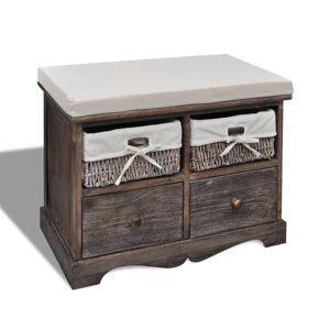vidaXL Bancă de depozitare, maro, 62x33x42 cm, lemn de paulownia