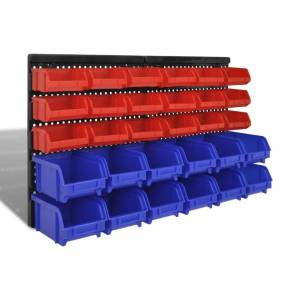 vidaXL Set organizator plastic garaj, montare perete, 30 buc, albastru-roșu