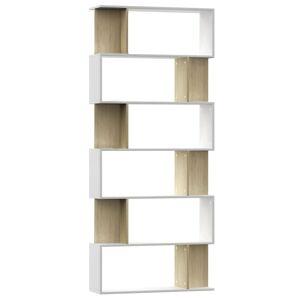 vidaXL Bibliotecă/Separator cameră alb & stejar Sonoma 80x24x192cm PAL