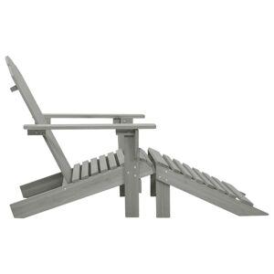 vidaXL Scaun de grădină cu taburet, gri, lemn
