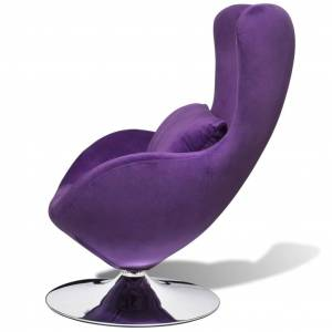 vidaXL Scaun ou rotativ, cu pernă, violet, catifea, mic