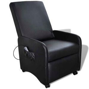 vidaXL Fotoliu de masaj, negru, piele ecologică