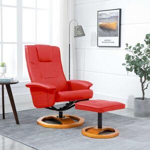 vidaXL Fotoliu TV pivotant cu taburet, roșu, piele ecologică
