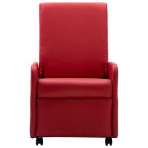 vidaXL Fotoliu rabatabil, roșu, piele ecologică