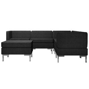 vidaXL Set de canapele, 6 piese, negru, material textil