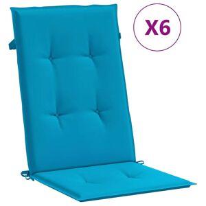 vidaXL Perne scaun de grădină, 6 buc., albastru, 120 x 50 x 4 cm