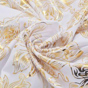 vidaXL Huse de scaun elastice drepte, 6 buc., alb cu imprimeu auriu