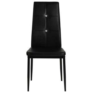 vidaXL Scaune de bucătărie, 6 buc., negru, piele ecologică