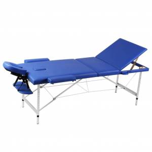 vidaXL Masă de masaj pliabilă cadru din aluminiu 3 părți Albastru