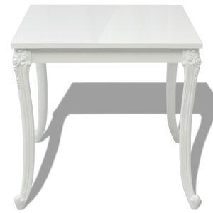 vidaXL Masă de bucătărie lucioasă, 80 x 80 x 76 cm, alb