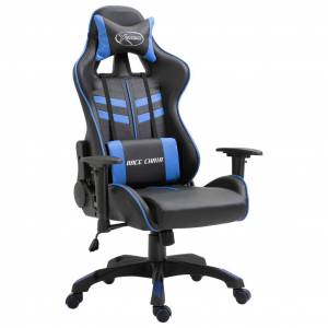 vidaXL Scaun pentru jocuri, albastru, piele ecologică
