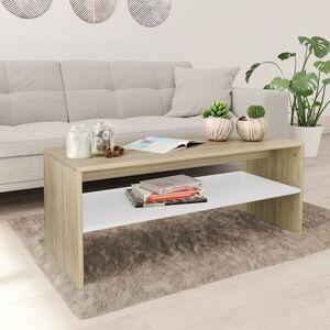 vidaXL Măsuță de cafea, alb și stejar Sonoma, 100x40x40 cm, PAL
