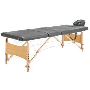 vidaXL Masă de masaj cu 4 zone, cadru din lemn, antracit, 186 x 68 cm