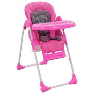 vidaXL Scaun de masă înalt pentru copii, roz și gri