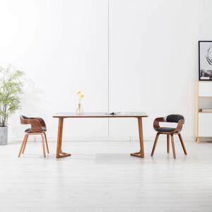 vidaXL Scaune de bucătărie, 2 buc., gri închis, textil și lemn curbat