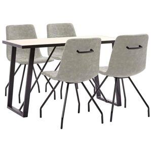 vidaXL Set mobilier de bucătărie, 5 piese, gri, piele ecologică