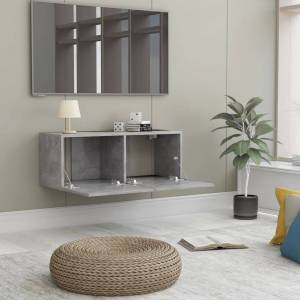 vidaXL Comodă TV, gri beton, 80 x 30 x 30 cm, PAL