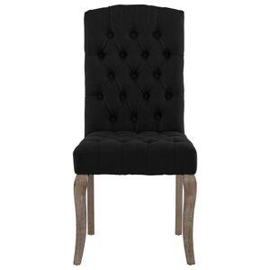 vidaXL Scaune de bucătărie, 2 buc., negru, aspect pânză, textil