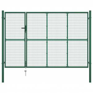 vidaXL Poartă de grădină, verde, 350 x 200 cm, oțel