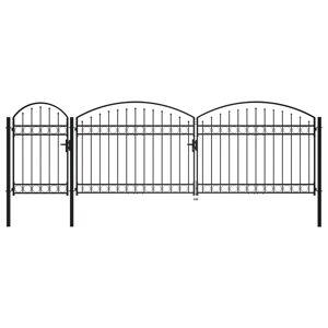 vidaXL Poartă de gard de grădină cu arcadă, negru, 1,75 x 5 m, oțel
