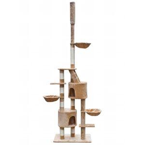 vidaXL Ansamblu joacă pisici din sisal XL 230-260 cm Pluș bej