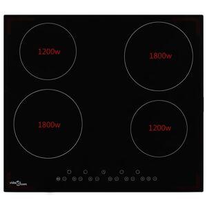 vidaXL Plită ceramică cu 4 arzătoare, control tactil, 6000 W