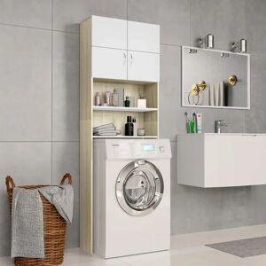 vidaXL Dulap mașină de spălat alb & stejar Sonoma 64x25,5x190 cm PAL