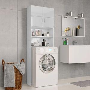 vidaXL Dulap mașina de spălat, alb extralucios, 64x25,5x190 cm, PAL