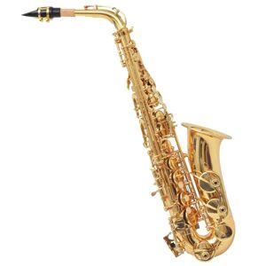 vidaXL Saxofon din alamă galbenă cu luciu auriu