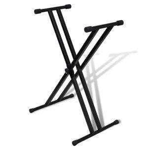 vidaXL Stativ claviatură reglabil cadru cu brațe duble