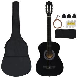 vidaXL Set de chitară clasică pentru copii, 8 piese, negru, 3/4 36