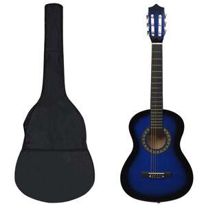 vidaXL Set de chitară clasică începători, 8 piese, albastru, 1/2 34