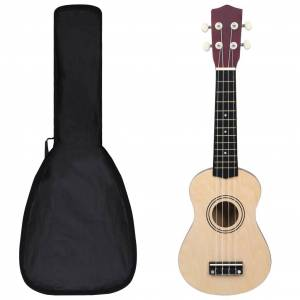 vidaXL Set ukulele soprano, cu husă, pentru copii, lemn deschis, 21