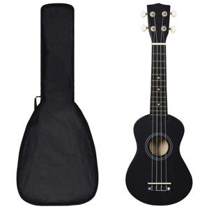 vidaXL Set ukulele soprano, cu husă, pentru copii, negru, 21
