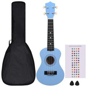 vidaXL Set ukulele Soprano pentru copii, cu husă, bleu, 21