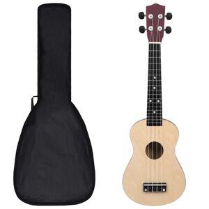 vidaXL Set ukulele Soprano pentru copii, cu husă, lemn deschis, 23