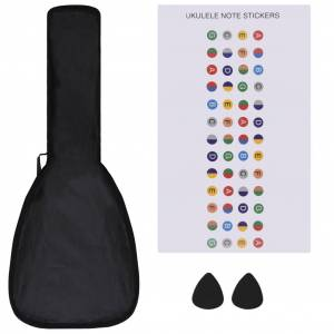 vidaXL Set ukulele Soprano pentru copii, cu husă, bleu, 23