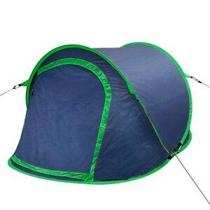 vidaXL Cort pentru camping, 2 persoane, bleumarin / verde
