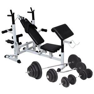 vidaXL Bancă de greutăți cu raft și set de haltere și gantere, 120 kg